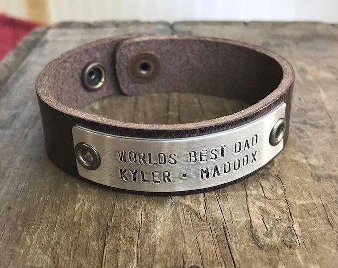 Worlds Best Dad Bracelet Personalized Men's Leather Bracelet Leather Worlds Best Dad bracelet custom