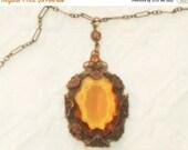 SALE SALE SALE Stunning French Art Nouveau Art Deco Golden Topaz Crystal Ornate Flower Brass Necklace