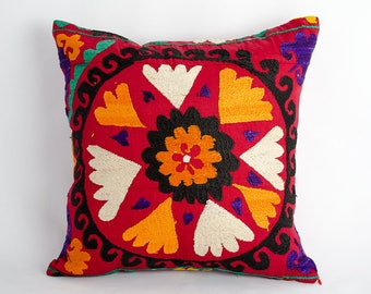 Unique Vintage suzani pillow cover, fully handmade silk embroidery. one of a kind. 14x14 inches or 35x35 cm size, suzani, decorative pillow