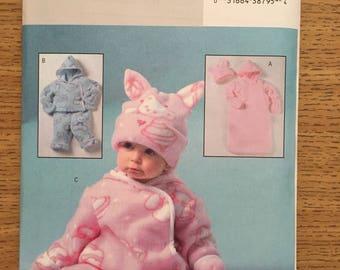 Sewing Pattern ~ Butterick 4333 ~ Infant Fleece Bunting Jacket Pants Jumpsuit Hat Mittens
