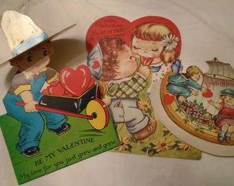 Vintage Valentine Cards  Three Large Collectible Stand up And Movable Parts