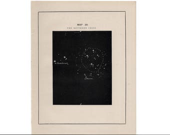 1891 SOUTHERN CROSS constellation print - original antique astronomy lithograph - celestial star map - star chart of the sky - stars print