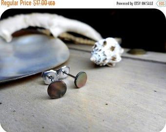 METOPE - petite. Abalone shell and Titanium post stud earrings