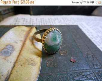 The Arctic Frost Ring.  Ruby Fuchsite Gemstone Cabochon oval, antiqued copper & brass osfa cocktail ring