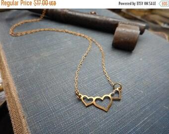 SALE Paper Hearts. Petite Triple Heart rustic copper & Red brass chain necklace