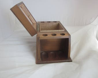 Smoking PIPE and TOBACCO Walnut Storage Box Pipe cady /Pipe Container