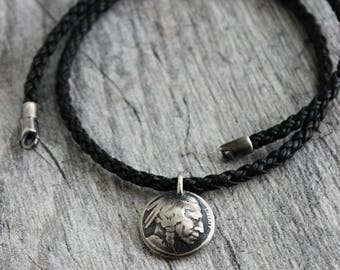 Mens Indian Nickel Pendant Necklace, Black Leather Braid Necklace