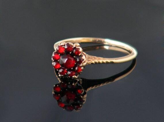 Antique Garnet Ring | Ornate 10ct Gold Bohemian Garnet Halo Ring, Victorian Ring | Garnet Engagement Ring - US Ring Size 7.5, UK Ring Size P