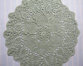 Pale Sage Doily-10 inch Doily-Very Light Sage Green Textured Pineapple Doily-Hand Crocheted Cotton Doily-Cindy's Loft