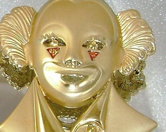 SALE Brushed Goldtone Clown Harlequin with Enamel Accents Vintage Brooch