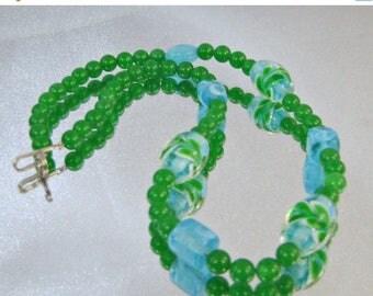 SALE Vintage Blue Green Murano Art Glass Necklace.  Kelly Green Aqua Blue Murano Glass Beads Choker.