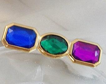 SALE Vintage Jewel Tone Rhinestone Brooch. Blue Green Magenta Purple Three Stone Pin.