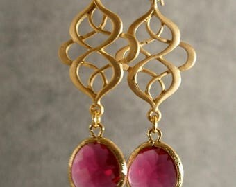 HOLIDAY SALE Fuschia Glass Oriental Gold Bridesmaid Earrings, Gold Earrings, Bridesmaid Jewelry, Wedding Jewelry, Bridal Jewelry (4576W)
