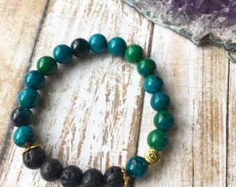 Teal & Gold Essential Oil Diffuser Bracelet