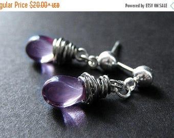 SUMMER SALE Teardrop Earrings in Amethyst Purple and Posts. Silver Wire Wrapped Earrings. Handmade Earrings.