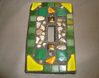 MOSAIC Light Switch Plate -Crazy Quilt, Single Switch, Wall Art, Green, Yellow, Tan, Beige, Silver