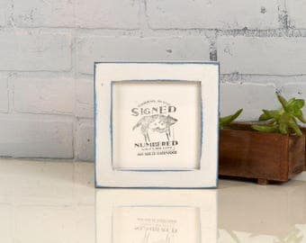 """5x5 inch Square Picture Frame in 1x1 Flat Style with Super Vintage Blue under White Finish - IN STOCK - Same Day Shipping - 5 x 5"""""""