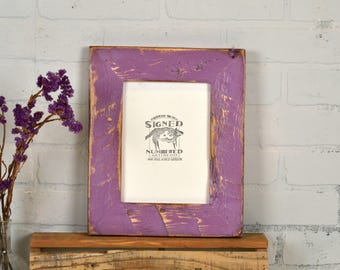 """6x8"""" Picture Frame in 2.25 Reclaimed Pine with Super Vintage Violet Finish - IN STOCK - Same Day Shipping - 6 x 8 Purple Frame"""