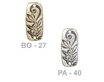 TierraCast Jardin Bar Connector Link - choose from brass oxide or antique pewter - reversible connector link with abstract floral patterns