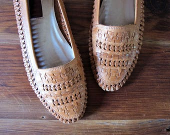 Vintage Woven Leather Loafers Slip On Flats Sabree Size 9