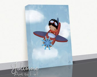 Boy Airplane Nursery Art,Canvas Print,Custom Hair Skin Color,Blue Red Boys Nursery,Children's Bedroom Decor,Art Prints Toddler Boys