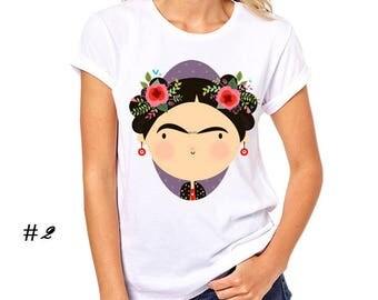 Women's Fashion Top Frida Kahlo Printed T Shirt Short Sleeve Round Neck Top Tees