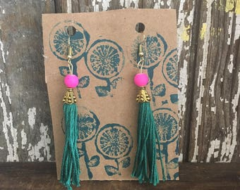 Tassel earrings, teal and pink,