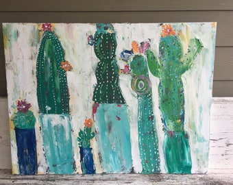 Cactus painting, 30 x 40 original painting with 1.5 deep profile, greens and turquoises,