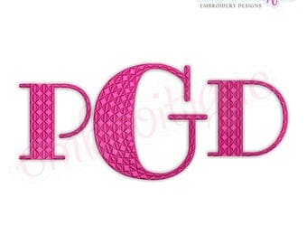 "Garner Monogram Font  - BX Files included- Instant Download Machine embroidery design -1"", 1.5"", 2"", 2.5"", 3"", 4"", 5"""