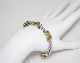 Sterling Silver rope cable Cuff Bracelet brass x design accents mans mens womens bangle tennis mod grunge fine jewelry