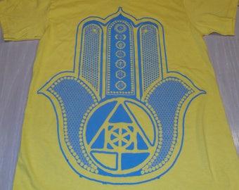 T-Shirt - Hamsa (Blue on Yellow)