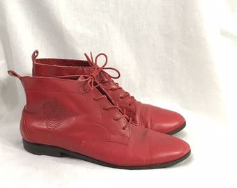 Vintage 1980s Red Leather Ankle Booties 8 1/2 M