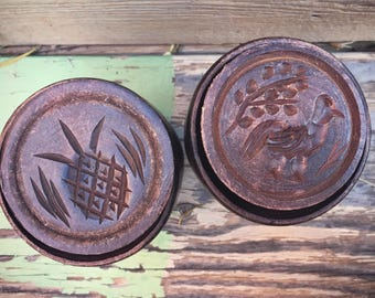 Pair of antique carved wood butter molds pineapple motif and bird design primitive decor