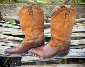 Vintage well-worn Dingo cowboy boots Women's Size 8.5 D two-tone distressed brown leather