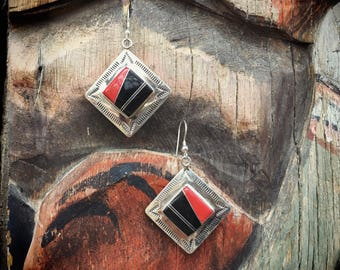 Navajo Earrings Coral Onyx Sterling Silver Native American Indian Jewelry, Dangle Earrings