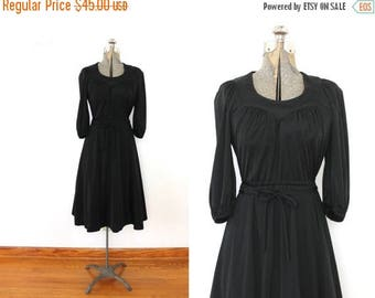 ON SALE 70s Black Dress / Black 1970s Grecian Disco Dress