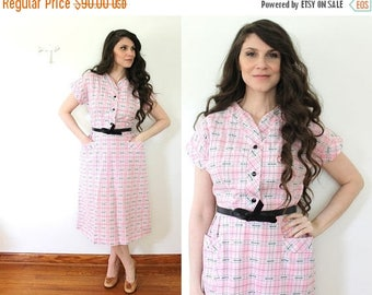 ON SALE Pink 50s Plaid Dress / 1950s Plaid Princess Peggy Pink Day Dress