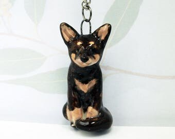Hand crafted miniature ceramic Kelpie dog pendant charm or totem figurine Anita Reay Jewellery Kelpie lovers gift
