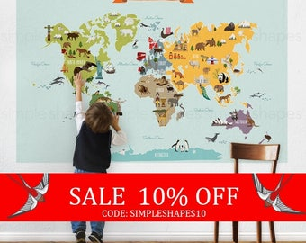 Summer Sale - World Map, Kids World Map Poster, Educational Map for Kids, Peel and Stick Poster Sticker, Wall Sticker Map, The World Map