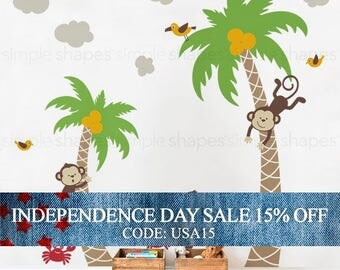 Independence Day Sale - 3 Monkeys with Palm Tree Wall Decal - Nursery Wall Decal - Nursery Decals