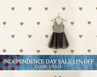 Independence Day Sale - Gold Heart Decals, Nursery Decor, Kids Decals, Heart Decals, Heart Decor - Hearts Large