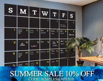 Chalkboard 2017 Wall Decal Calendar, Blackboard Calendar, Wall Calendar, Chalkboard Calendar Wall Sticker, Extra Large Calendar