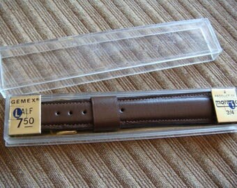 Men's Brown Leather Watch Band Gemex New Vintage Stock Leather Watch Band 3/4 inch Long