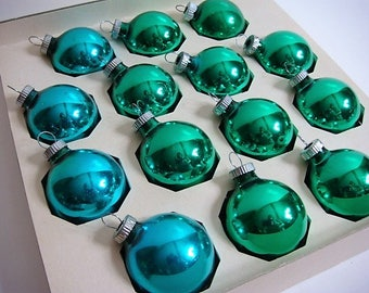 14 Shiny Brite Mercury Glass Christmas Ornaments Green and Blue Colored 1 1/2 Inch Large Mercury Glass Ornaments