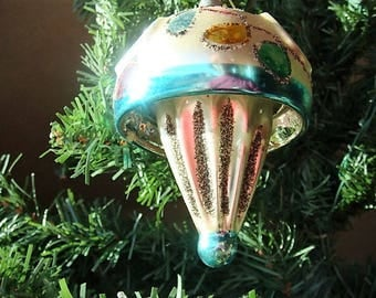 UFO Shaped West Germany Christmas Ornament Mercury Glass Ornament Indented Ornament