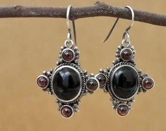 VINTAGE FIND, sterling silver large black onyx and red garnet gemstone drop earrings, cross earrings