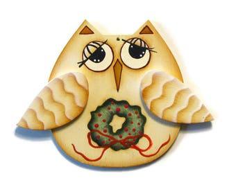 Primitive Owl Christmas Ornament, Handpainted Wood, Hand Painted Ornament, Tole Decorative Painting