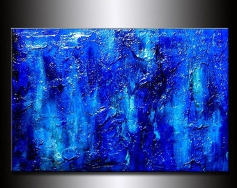 Modern Painting Original Thick Texture Blue Abstract Painting Contemporary Modern  fine art by Henry Parsinia Large 36x24