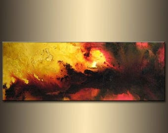 Original Sky Sunset Abstract painting, Contemporary Modern Red Black On Canvas Art by Henry Parsinia Large 48x18
