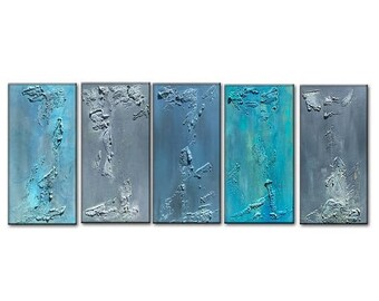 Abstract Canvas Art Multi Paneled Textured Blue Grey painting Contemporary Fine Art by Henry Parsinia Large 75x30x1.58